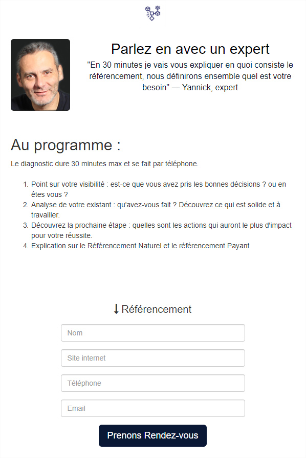 page de conversion exemple
